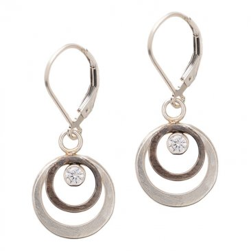 Sterling Circle and CZ Earring