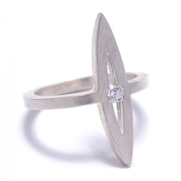 Sterling open marquis ring with flush set Cubic Zirconium