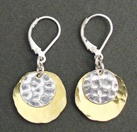Sterling Silver Disc & Brass Oval Earring