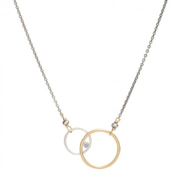 14kt GF and Sterling Circle Cubic Zirconia Necklace