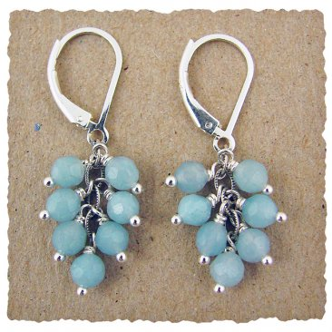 Amazonite and Sterling Cluster Earring