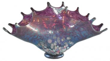 Amethyst Blown Glass Splash Bowl by Artist Joel Bloomberg