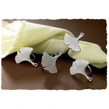 Ginkgo Leaves Pewter Napkin Ring