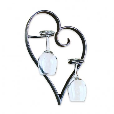 heart wall mounted wine champagne glass rack