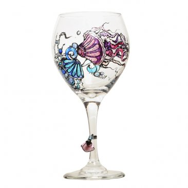 Jellyfish Wine Glass Hand Painted Free Personalization