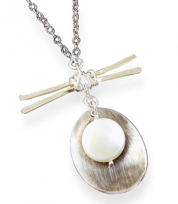 Pearl 14kt Gold-filled & Sterling Cupped Necklace