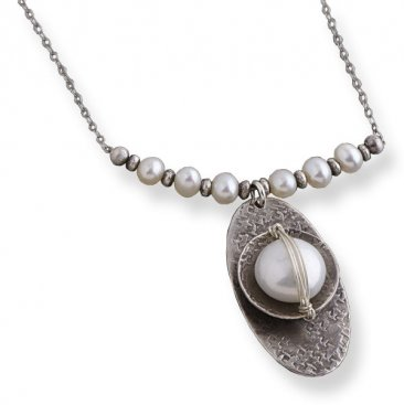 Pearl Sterling Wrapped Oxidized Disc Necklace