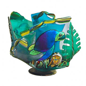 Sea Turtle Coral Wave Vase