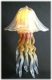 Jellyfish Table Lamp Amber Iridescent Double 10 Colors